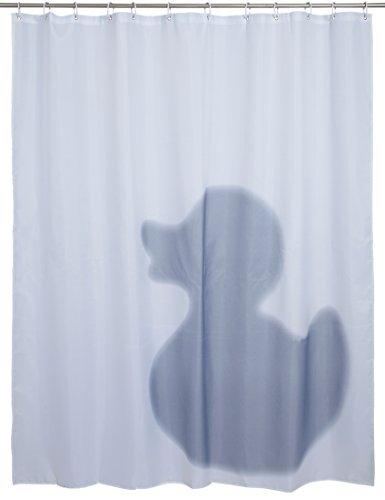 """Duschvorhang mit Entenschatten - Weiß """"Riesen Ente"""" Design 180 x 180 cm - Dusch-Vorhang als Geschenkidee - Grinscard"""