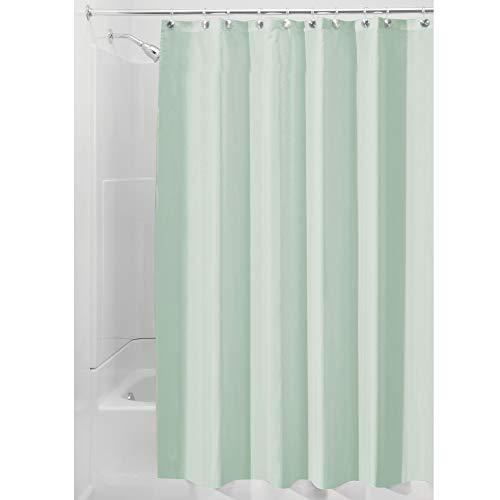iDesign Duschvorhang aus Stoff | wasserdichter Duschvorhang mit verstärktem Saum | waschbarer Textil Duschvorhang in der Größe 183,0 cm x 183,0 cm | Polyester meeresgrün