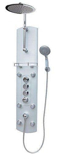 Thermostat Duschpaneel Brausepaneel Duschsäule Duschsystem große Regendusche runde Regenwald Dusche mit 6 Massagedüsen aus Aluminium Handbrause Duschkopf Duscharmatur Wand und Eckmontage