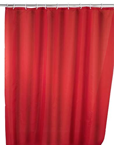 WENKO Anti-Schimmel Duschvorhang Uni Red, Duschvorhang mit Antischimmel Effekt fürs Badezimmer, inkl. Ringen zur Befestigung an der Duschstange, waschbar, 100% Polyester, 180 x 200 cm, rot