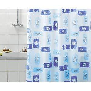 Gedy 7124063330 Duschvorhang, Vinyl, Blau, 240x200cm