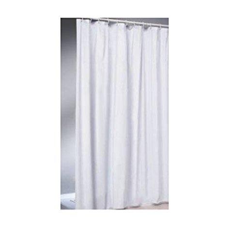 Duschvorhang weiß 120x200 cm Stoff Textil Beschwerungsband & Ringen weiss Dusche