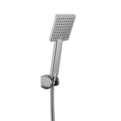 KES Handbrause Duschkopf Handbrausen Bad Hand Dusche Badezimmer WC Single Funktion Handbrause mit Schlauch und Halterung Moderner quadratischer gebürsteter nickel, LP130A-BN