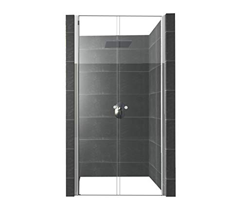 DURASHOWER Glaswand Dusche aus ESG Glas 1950 mm x 900 mm – 930 mm x 6 mm nanobeschichtet Duschwand Tür Duschkabine