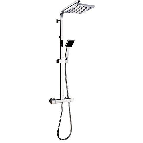 Auralum® Thermostat Duschsystem Überkopfbrause Regendusche Duschset Duschstange Chrom Handbrause Duschkopf