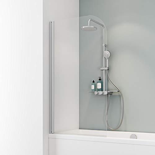 Schulte D1650 01 50 Komfort Duschabtrennung für Badewanne, alunatur, 140 x 80 cm