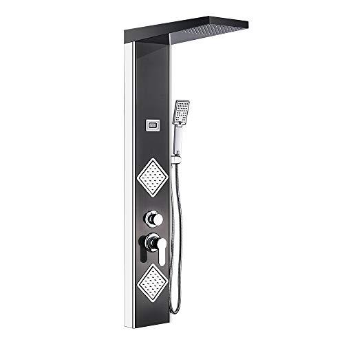 Auralum 304 Edelstahl Duschpaneel Set mit Top Spray Handbrause Rückseitedusche, Duschsystem mit LED Temperaturanzeige, TemperaturDusche fürs Badenzimmer, Klassisch Schwarz