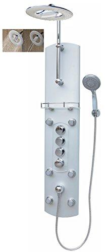 Duschpaneel mit Thermostat Silber Regendusche mit 6 Massagedüsen Duschbrause Wandmontage und Eckmontage