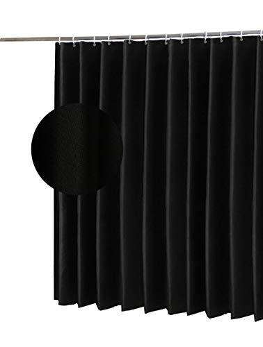 Wasserdichter Duschvorhang, Schimmelfreier Badvorhang mit Kunststoff 12 Haken, Polyester Stoff, Breite 180 x Länge 200 cm (Schwarz)