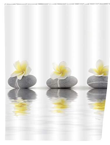 WENKO 20960100 Duschvorhang Stones with Flower - waschbar, mit 12 Duschvorhangringen, 100 % Polyester, Mehrfarbig