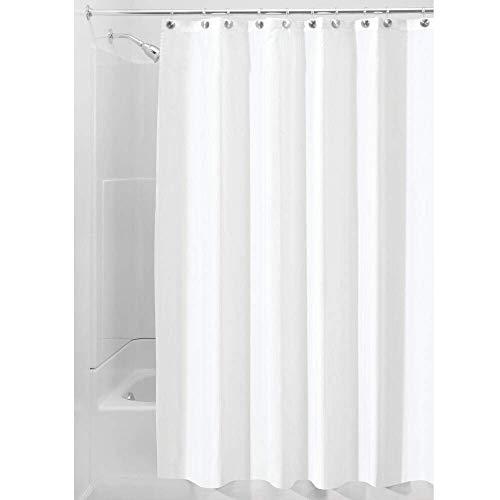 iDesign Duschvorhang aus Stoff, waschbarer Badewannenvorhang aus Polyester in der Größe 180,0 cm x 200,0 cm, wasserdichter Vorhang mit verstärktem Saum, weiß