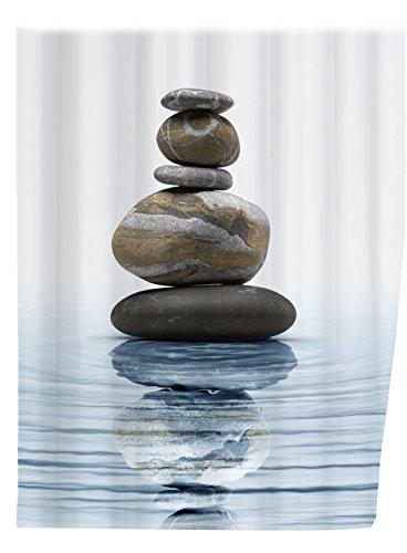 WENKO 20961100 Duschvorhang Meditation - waschbar, mit 12 Duschvorhangringen, 100 % Polyester, Mehrfarbig