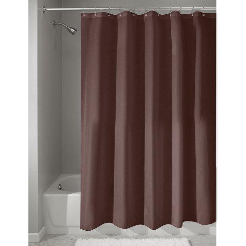 iDesign Duschvorhang aus Stoff | wasserdichter Duschvorhang mit verstärktem Saum | waschbarer Textil Duschvorhang in der Größe 180,0 cm x 200,0 cm | Polyester schokobraun