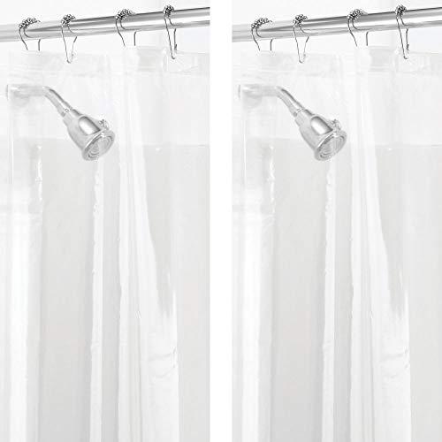 mDesign 2er-Set PVC-freier Duschvorhang aus PEVA – geruchloser, wasserfester Anti-Schimmel-Duschvorhang mit Magneten im Saum – ideal als Badewannenvorhang 183 cm x 183 cm – durchsichtig