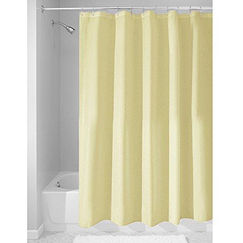iDesign Duschvorhang aus Stoff | wasserdichter Duschvorhang mit verstärktem Saum | waschbarer Textil Duschvorhang in der Größe 183,0 cm x 183,0 cm | Polyester zitronengelb