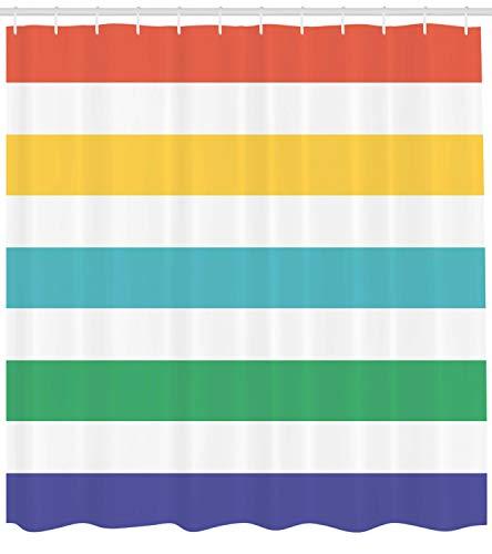 Abakuhaus Duschvorhang, Regenbogen Farben Minimalistischen Design Retro Vintage Bund Gestreiftes Digital Druck Bild, Wasser und Blickdicht aus Stoff mit 12 Ringen Bakterie Resistent, 175 X 200 cm