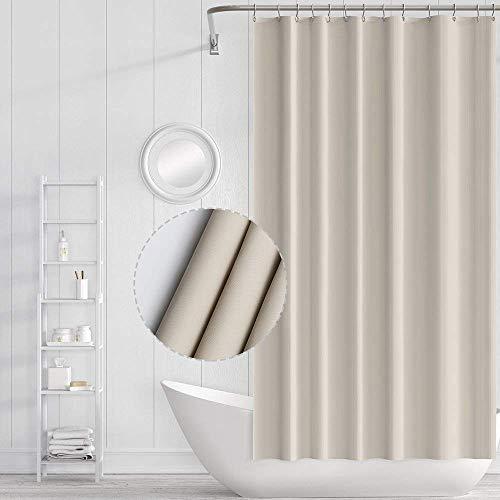Funria Wasserdicht Duschvorhang Mehltau Beständiges Antibakterielles Badezimmer Vorhänge Badezimmer Duschvorhänge mit Haken, Größe 70 x 70 Zoll (Beige)