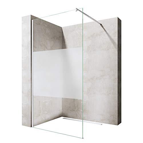 Sogood Luxus Duschwand Duschabtrennung Bremen1MS 120x200 Walk-In Dusche mit Stabilisator aus Echtglas 8mm ESG-Sicherheitsglas Klarglas inkl. Nanobeschichtung