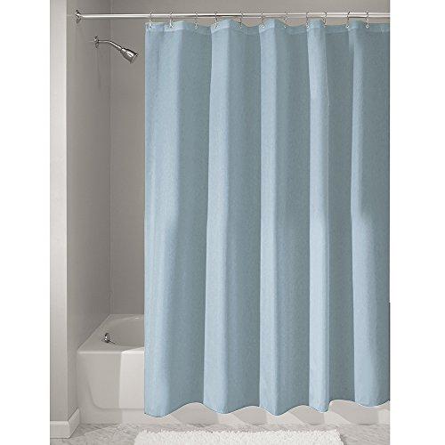 iDesign Duschvorhang aus Stoff | wasserdichter Duschvorhang mit verstärktem Saum | waschbarer Textil Duschvorhang in der Größe 183,0 cm x 183,0 cm | Polyester graublau