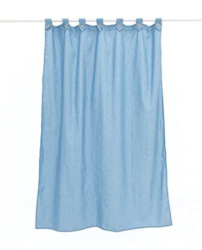 Duschvorhang aus glattem Segeltuch, mit Schlaufen und Knöpfen, 100 % Baumwolle, wasserabweisend und schimmelresistent 180 x 200 cm blau