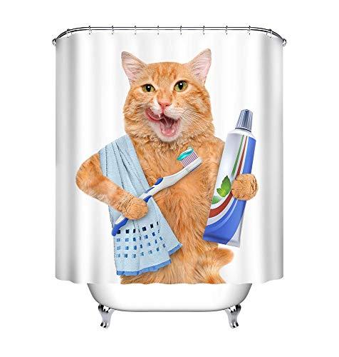 LB Katzen Duschvorhang mit Haken, Tier Zahnpasta Zahnbürste Handtuch Weißer Hintergrund Badevorhänge 180x180 cm, Anti-Schimmel Wasserdicht Polyester Stoff