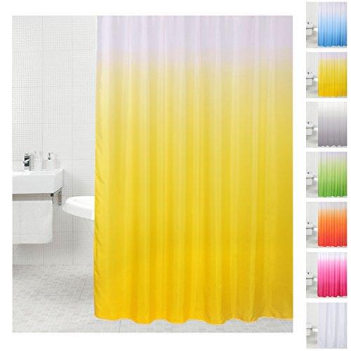 Sanilo D032575 Duschvorhang, viele einfarbige zur Auswahl, Anti-Schimmel-Effekt, Stoff, gelb, 180 x 180 cm