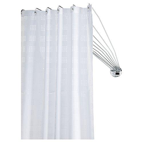 Sealskin Duschvorhangstange Umbrella - die flexible Duschfaltkabine, Duschspinne, ideal für kleine Bäder und Badewannen, Metall, Farbe: Chrom, 80 x 155 x 5 cm