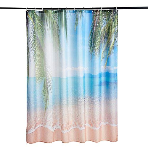 Alicemall Duschvorhang 180x180 Textil Schimmelresistenter Wasserabweisender Stoff-Duschvorhang Shower Curtain 180x180cm (Strand 1)