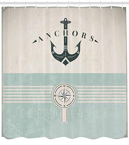 Abakuhaus Duschvorhang, Nautische Anker Sailor Meer Richtungen Antiqued Thema aus Stoff Stoff Badezimmer mit Haken, Blickdicht aus Stoff inkl. 12 Ringen Umweltfreundlich Waschbar, 175 X 200 cm