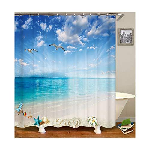 SonMo Duschvorhang Möwen Polyester Blau Anti-Schimmel Wasserdicht Anti-Bakteriellbad Vorhang für Badewanne Badezimmer mit Duschvorhangringen 180×200CM