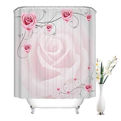 DECMAY Anti-schimmel Duschvorhang 180x180cm Wasserdicht Anti-Bakteriell Duschvorhang Badvorhang Japanischer Stil für Badezimmer mit 12 Duschvorhangringe Rosa Rose