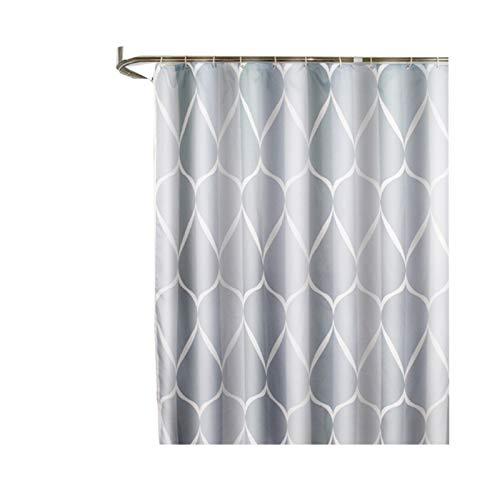 SonMo Duschvorhang Wassertröpfchen Welle Muster Polyester Grau Anti-Bakteriell Wasserdicht Anti-Schimmelbadezimmer Vorhang mit Duschvorhangringen Verdicken 120×200CM