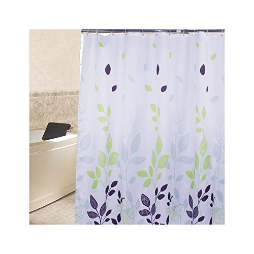 SonMo Duschvorhang Blatt Polyester Bunt Wasserdicht Anti-Schimmel Anti-Bakteriellbad Vorhang für Badewanne Badezimmer mit Duschvorhangringen Verdicken 120×200CM