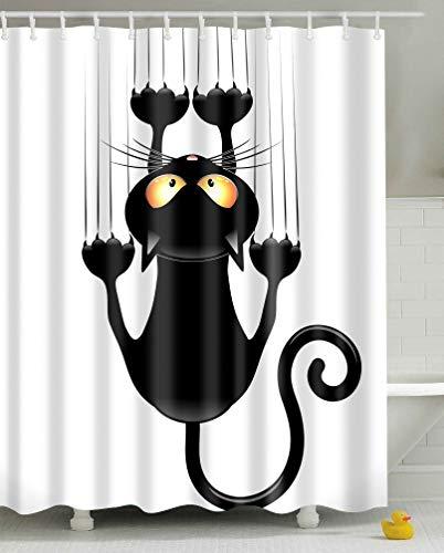Leashy Duschvorhang DIY Lustige Neuheit Katze Druck wasserdichte Bad Drapierung, Schimmel Proof Vorhang mit Haken (Schwarze Katze, 150x180)