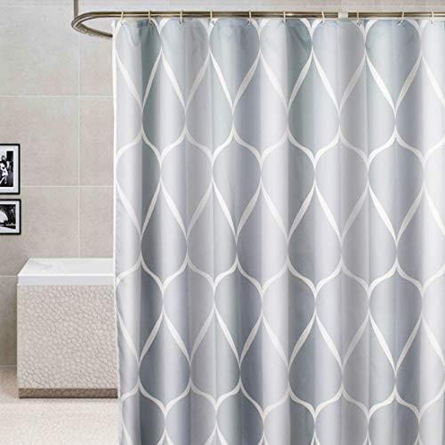 YISHU Top Qualität Duschvorhang Wasserdicht Anti-Schimmel Stoff inkl. 12 Duschvorhangringe für Badezimmer Grau 180x200cm