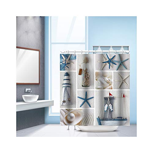 Aienid Duschvorhang Badematte Muster Seestern & Muschel Bad Vorhang Größe:240X180MM