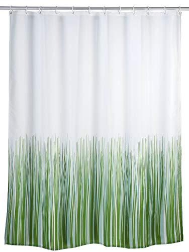 WENKO Anti-Schimmel Duschvorhang Nature, Duschvorhang mit Antischimmel Effekt fürs Badezimmer, inkl. Ringen zur Befestigung an der Duschstange, waschbar, 100% Polyester, 180 x 200 cm, weiß/grün