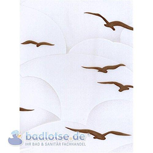 SYLT Duschvorhang Vinyl 240 x 180 cm weiß/braun milchig Möwen Himmel waschbar