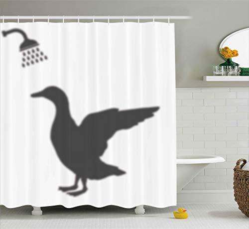 ABAKUHAUS Duschvorhang, Schatten der Enten Gans die Eine Dusche Nimmt Comic Spaß Hat Digitales Schwarz und Weiß Druck, Blickdicht aus Stoff inkl. 12 Ringen Umweltfreundlich Waschbar, 175 X 200 cm
