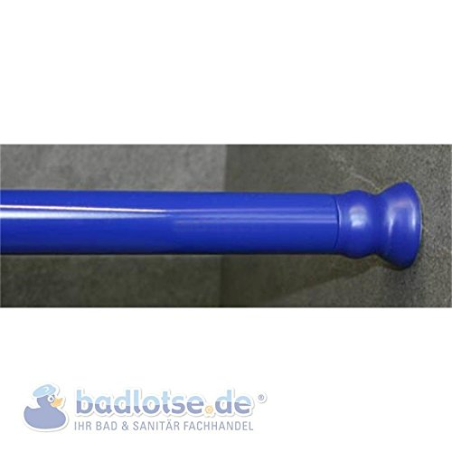 Duschvorhang-Stange 110 - 185 cm Ø 28 mm blau klemmbar Federstange Klemmstange