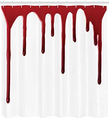 Abakuhaus Duschvorhang, Fliesendes Blood Horror Angst Halloween Zombie Verbrechen Hilf Mir Thema Illustration Druck, Wasser und Blickdicht aus Stoff mit 12 Ringen Schimmel Resistent, 175 X 200 cm