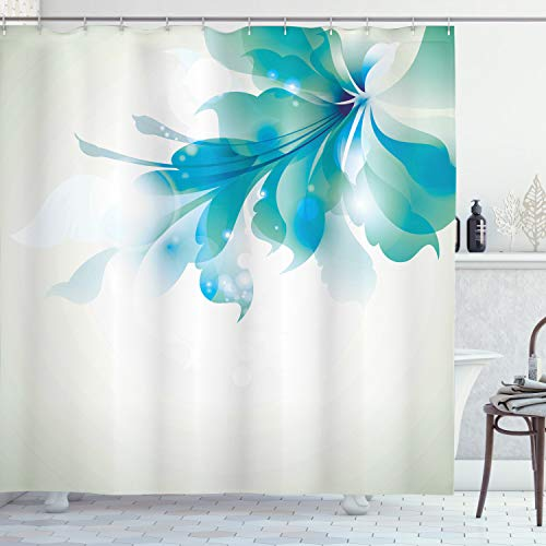 ABAKUHAUS Duschvorhang, Große Einzelne Schöne Abstrakte Blaue Ombré Blumen Grafik Effekt Minimalistischer Digital Druck, Wasser und Blickdicht aus Stoff mit 12 Ringen Bakterie Resistent, 175 X 200 cm