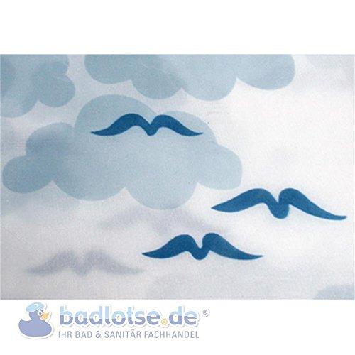HELGOLAND Duschvorhang Textil 120 x 200 cm weiß/blau Möwen Wolken waschbar