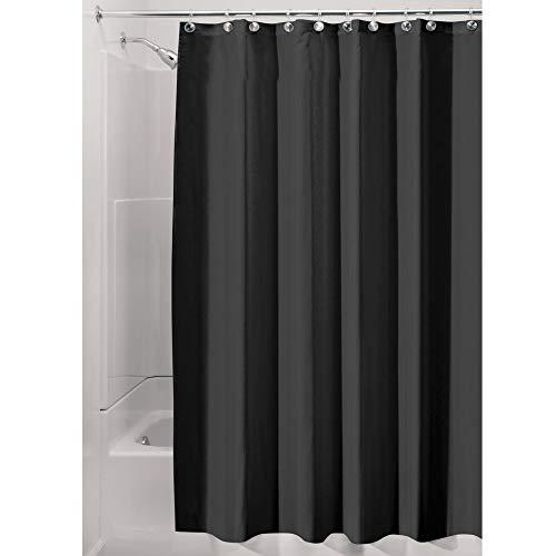 InterDesign Duschvorhang, Stoff, schwarz, 180,0 cm x 200,0 cm