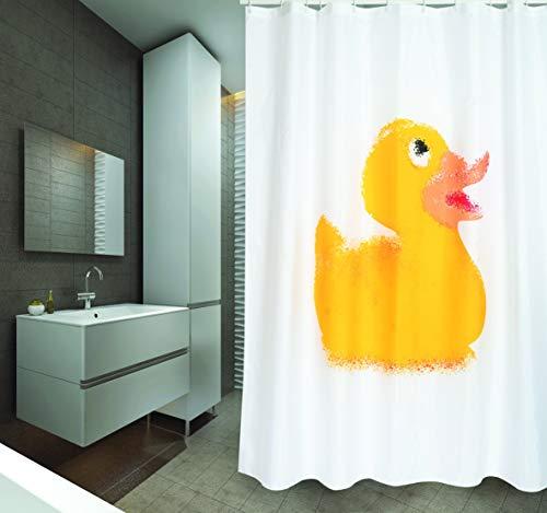 """MSV Cotexsa by Premium Anti-Schimmel Textil Duschvorhang - Anti-Bakteriell, waschbar, 100% wasserdicht, mit 12 Duschvorhangringen - Polyester, """"Badeente"""" weiß 180x200cm – Made in Spain"""