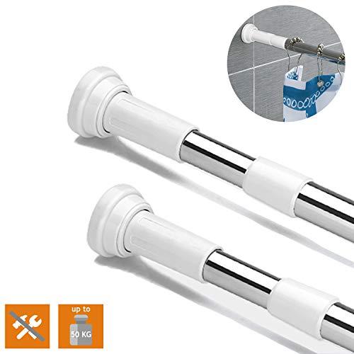 AIDBUCKS Duschvorhangstange 304 Edelstahl - haltbare Teleskopstange für Duschvorhang Kleider Gardine Küchenutensilien – Einfache Montage Ohne Werkzeuge (70-120cm)