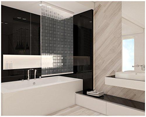 KS Handel 24 HALB-Kassetten DUSCHROLLO 4 Breiten 9 Designs ZUR Wahl DUSCHVORHANG Weiss GRAU GRÜN BLAU (120, Quadro 3D)