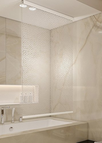 HALB-KASSETTEN DUSCHROLLO 140x240 CM PEVA MILKY STONE TRANSPARENT OPTIK! SHOWER ROLLO CURTAIN!