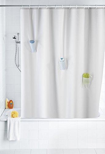 WENKO 21274100 Anti-Schimmel Duschvorhang Villa mit 3 Taschen - Anti-Bakteriell, waschbar, mit 12 Duschvorhangringen, 100 % Polyester, Weiß