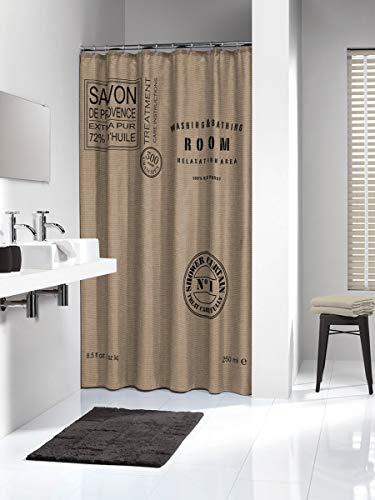 Sealskin Textil Duschvorhang Savon de Provence, Polyester, Farbe: Braun, B x H: 180 x 200 cm